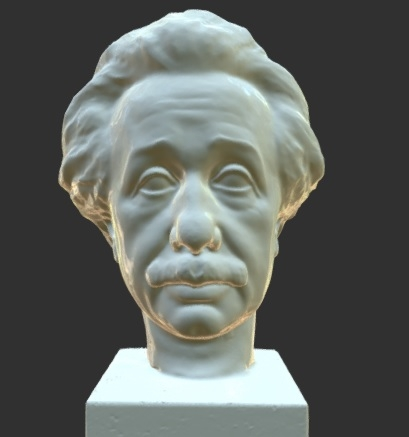 A computer generated image of a 3D model of Albert Einstein. The model resembles white marble.