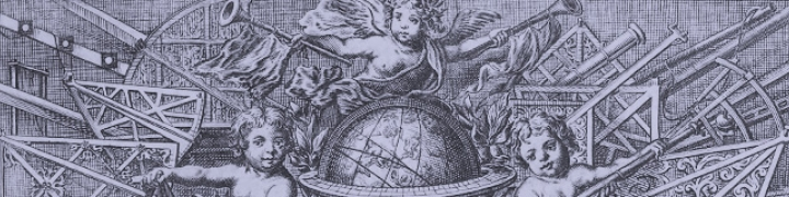 Purple tinted graphic showing angels and globe