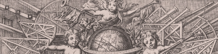 tinted graphic showing angels and globe