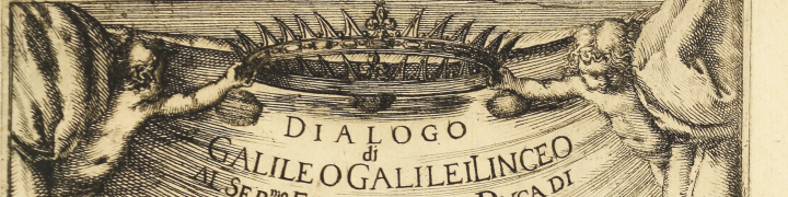 "illustration of two cherubs holding a crown over the title of the book ""Dialogo di Galileo Galilei"""