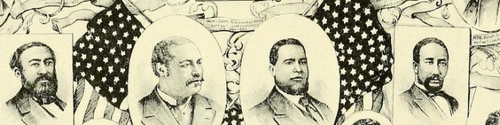 """COLORED MEN WHO SERVED IN THE CONGRESS OF THE UNITED STATES. Image sourced from """"The Negro in American History; men and women eminent in the evolution of the American of African descent"""" by John Wesley Cromwell, 1914."""