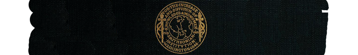 Gold seal of the Smithsonian Institution on a black buckram background