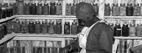 Photograph of Jorena Pettway sorting peas inside her smokehouse by Marion Post W. Collection SAAM.