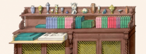 detail: illustration of an open cabinet with books and porcelain