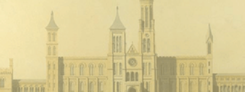 "drawing of the Smithsonian Institution ""Castle"" building"