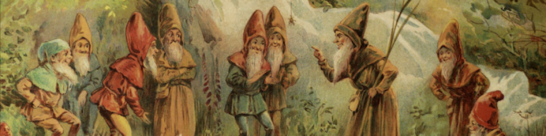 Detail of a painting of gnomes with long beards wearing colorful robes and hats having a meeting in the forest.