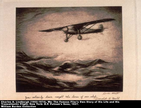 Lindbergh flight etching