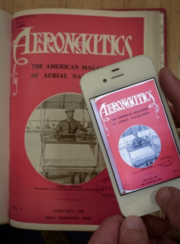 Image of a mobile devise displaying Aeronautica magazine, next to the original publication