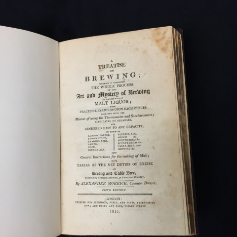 Title page of Morrice's 1815 book on home beer brewing
