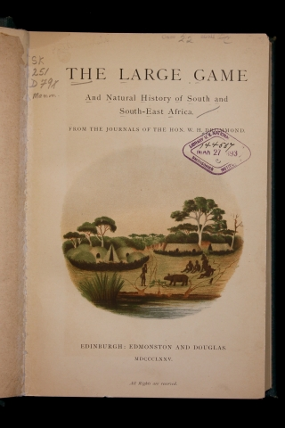 Title page from The Large game and natural history of South and South-East Africa