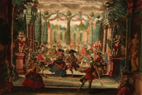 Garden scene with dancers, to be used as the set for a miniature theater graphic