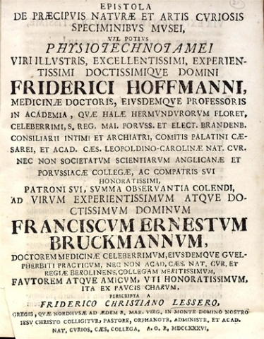 Epistola de praecipuis naturae et artis curiosis speciminibus musei...
