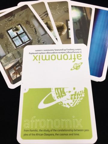 Sanford Biggers, Afronomical Way, sample of afronomix cards