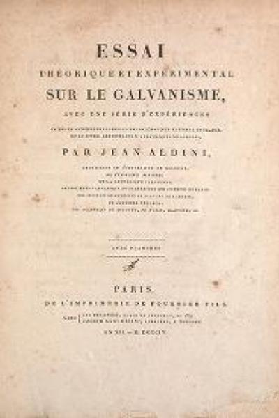 """Cover of """"Essai théorique et expérimental sur le galvanisme avec une série d'expériences faites en présence des Commissaires de l'Institut national de Fran"""""""