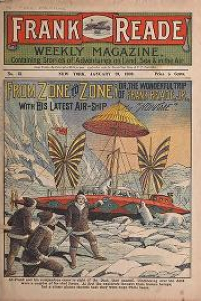 """Cover of """"Frank Reade weekly magazine : containing stories of adventures on land, sea & in the air."""""""