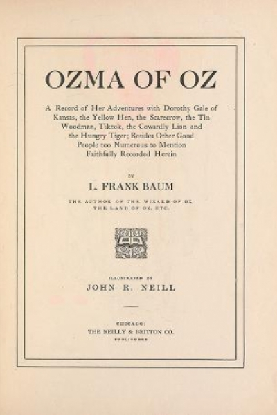 "Cover of ""Ozma of Oz a record of her adventures with Dorothy Gale of Kansas, the yellow hen, the scarecrow, the tin woodman, Tiktok, the cowardly lion and the h"""