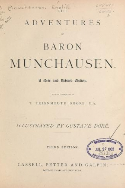 """Cover of """"The adventures of Baron Munchausen /"""""""