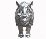 A silvery 3D printed model of a rhino seen head on. The horn and head are blurry due to perspective.