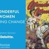 Wonderul Women Creating Change - Signature Sponsor: Deloitte with cover of Wonder Woman comic