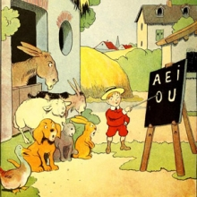 illustration from a children's book of s small boy teaching farm animals their vowels