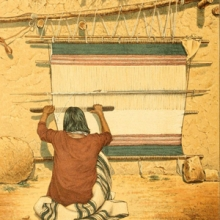 color drawing of a woman weaving on a Navajo style loom.