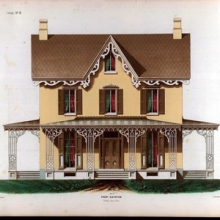 American style house with porch
