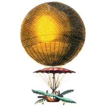 early 19th century style balloon with wings