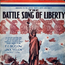 """detail of the sheet music """"Battle Song of Liberty"""" showing the statue of liberty and marching soldiers."""