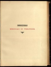 Cover of Memorials of Wedgwood