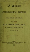 Cover of An address delivered to the Anthropological Institute of Great Britain and Ireland