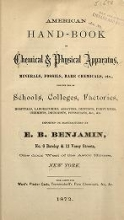 Cover of American hand-book of chemical and physical apparatus, minerals, fossils, rare chemicals, etc., for the use of schools, colleges, factories etc
