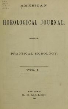 Cover of American horological journal, devoted to practical horology