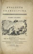 Cover of Analecta transalpina