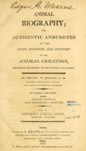 Cover of Animal biography, or, Authentic anecdotes of the lives, manners, and economy, of the animal creation