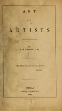 Cover of Art and artists