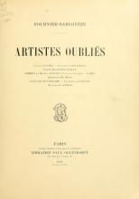 Cover of Artistes oubliés