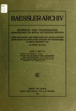 Cover of Baessler-Archiv