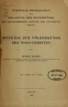 Cover of Beiträge zur Völkerkunde des Togo-Gebietes