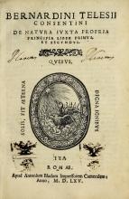 Cover of Bernardini Telesii Consentini De natura iuxta propria principia liber primus et secundus