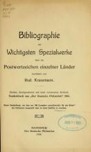 Cover of Bibliographie der wichtigsten Spezialwerke über die Postwertzeichen einzelner Länder