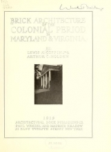 Cover of Brick architecture of the colonial period in Maryland & Virginia