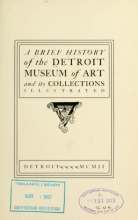 Cover of A brief history of the Detroit Museum of Art and its collections