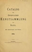 Cover of Catalog der öffentlichen Kunstsammlung von Basel