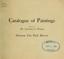 Cover of Catalog of paintings loaned by Mr. Lawrence C. Phipps