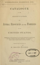 Cover of Catalogue of the collection to illustrate the animal resources and the fisheries of the United States