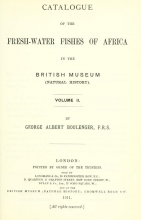 Cover of Catalogue of the fresh-water fishes of Africa in the British Museum (Natural History)
