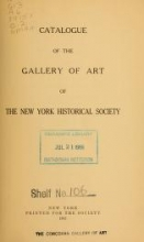 Cover of Catalogue of the Gallery of Art of the New York Historical Society