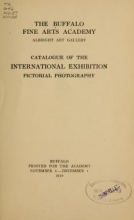 Cover of Catalogue of the international exhibition, pictorial photography