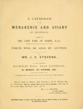 Cover of A catalogue of the menagerie and aviary at Knowsley