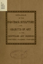 Cover of Catalogue of the paintings, sculpture and objects of art in the Montclair Art Museum